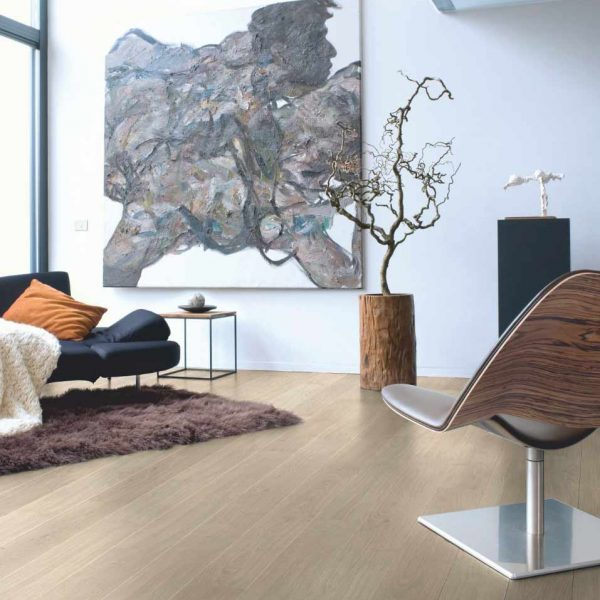 Quickstep Elite Light Grey Varnished Oak Planks UE1304 - Room