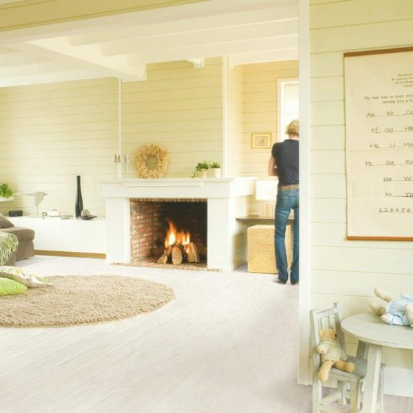 Quickstep Perspective White Brushed Pine Planks UF1235 - Room
