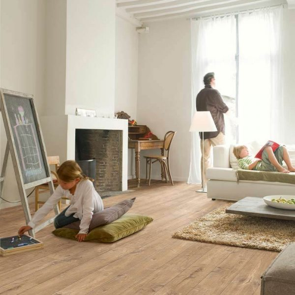 Quickstep Perspective Wide Oak With Saw Cuts Nature UFW1548 - Room