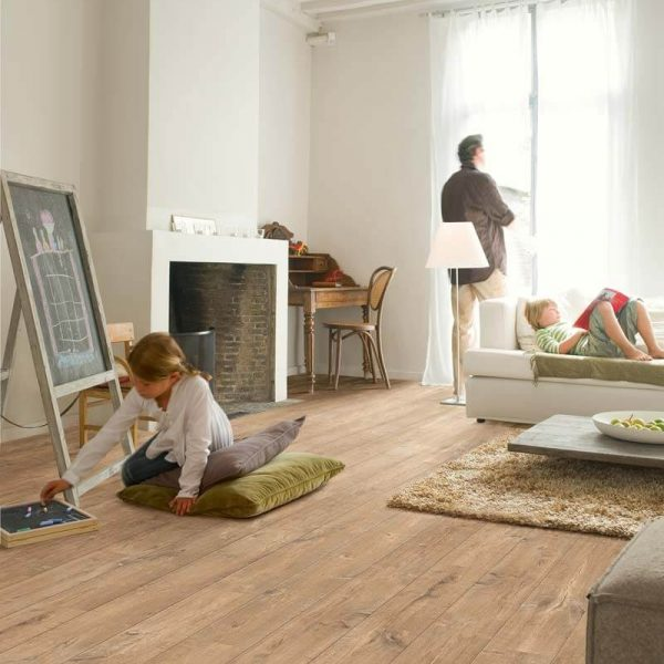 Quickstep Eligna Wide Oak Planks With Saw Cuts Nature UW1548 - Room