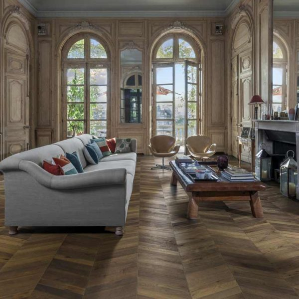 Kahrs Chevron Dark Brown Oak Engineered Wood Flooring - Room Set