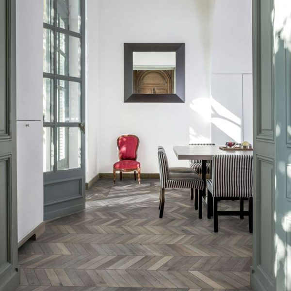 Kahrs Chevron Grey Oak Engineered Wood Flooring - Room Set