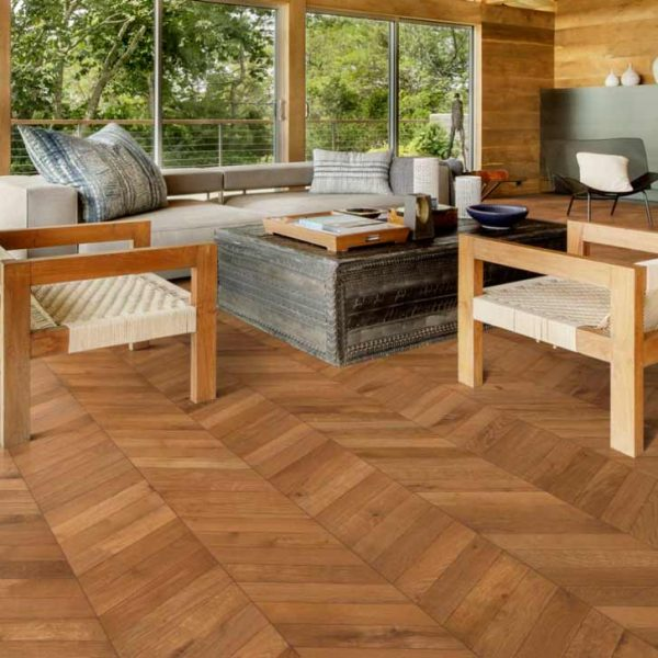 Kahrs Chevron Light Brown Oak Engineered Wood Flooring - Room