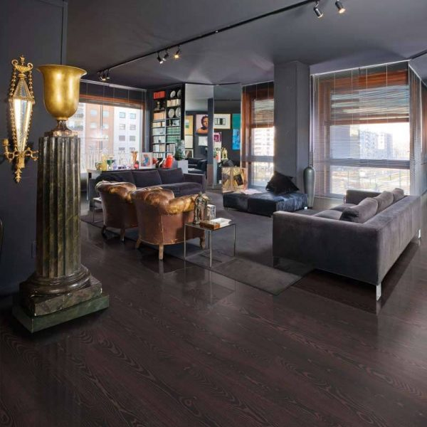 Kahrs Black Copper Engineered Wood Flooring - Room Set