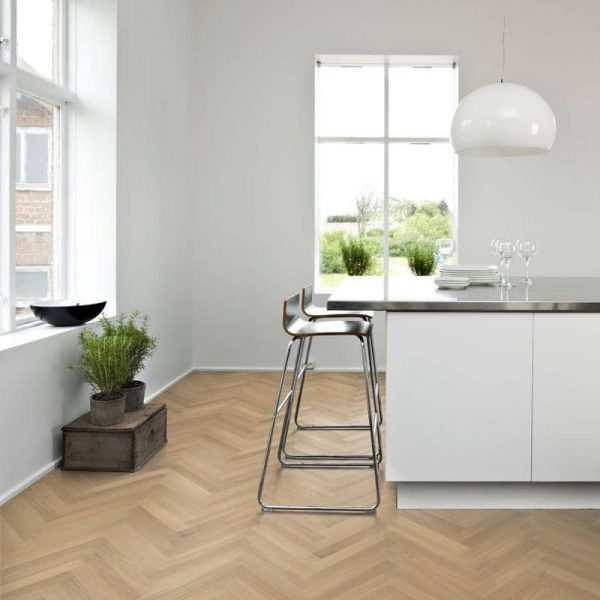 Kahrs Oak Herringbone AB White Natural Oil - Room