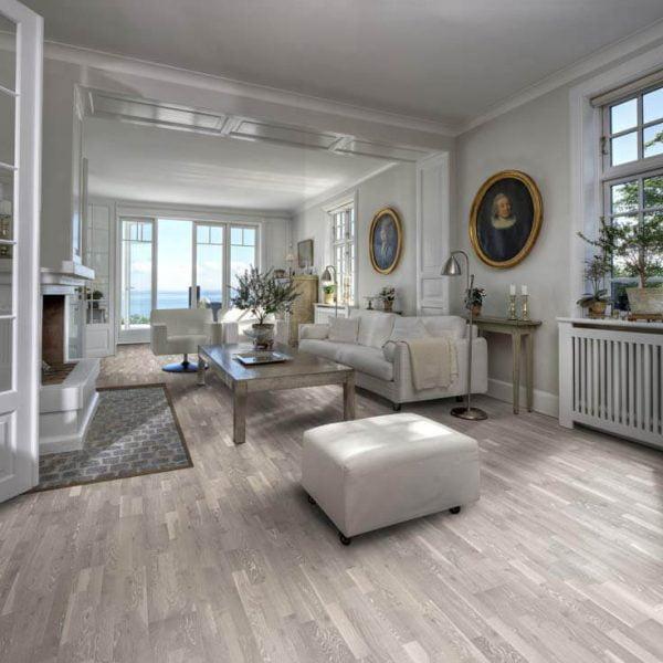 Kahrs Oak Limestone Engineered Wood Flooring - Room Set