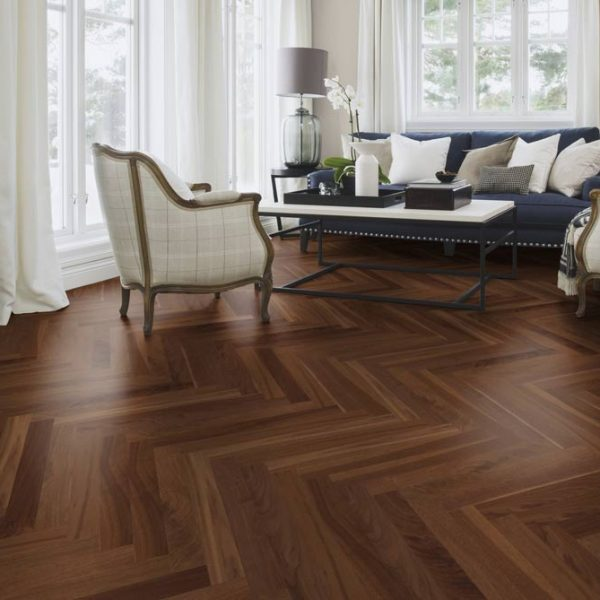 Boen Prestige Herringbone Walnut American Nature Live Natural NUN23K5D - Room