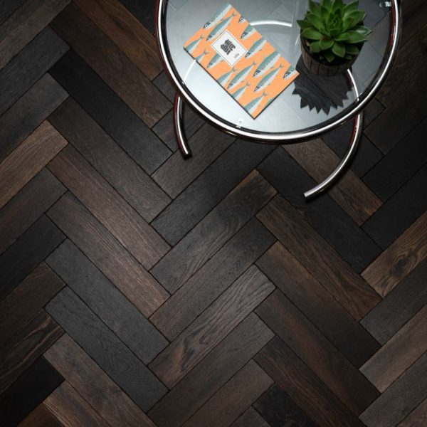 Woodpecker Goodrich Charred Oak Herringbone Engineered Wood Flooring