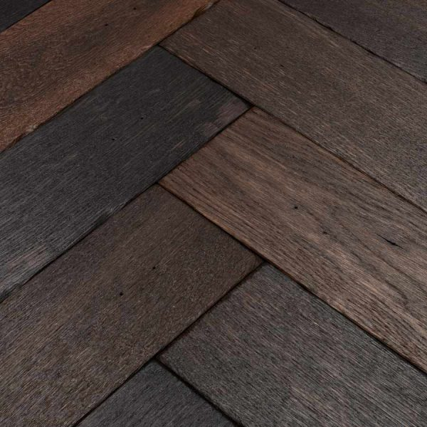 Woodpecker Goodrich Charred Oak Herringbone Engineered Wood Flooring - Swatch