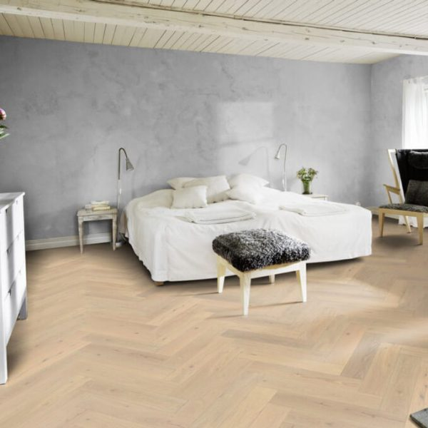 Kahrs Herringbone Oak CD White Modern Classic - Room